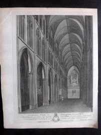 Valentine Green - Worcester 1796 Print. Internal View of Worcester Cathedral